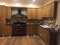Kitchen units, American style fridge freezer, built-in dishwasher, range cooker