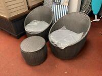 Habitat 2 Seater Wicker Barrel Bistro Set - Charcoal