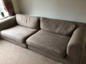 2 x Light Brown Fabric Sofa Set - 4 Seater & 2 Seater