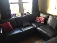 Black Leather Corner Sofa (Excellent Condition)