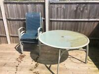 Round garden table with 3 chairs