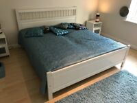 Double bed with mattresses - white