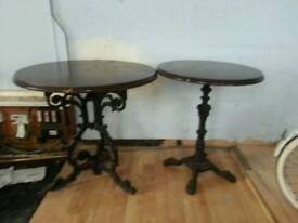 Ornate cast iron bar tables