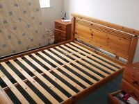 SOLID, WOOD, PINE, DOUBLE BED- NOT MATTRESS