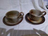 Pair of artisan coffee/chocolate CUPS/MUGS with SAUCERS