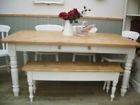 Stunning Pine Farmhouse 5½ft Table Chair and Bench Set.
