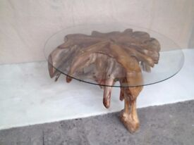 NEW, RECLAIMED TEAK ROOT COFFEE/DINING TABLE, TOUGHTENED GLASS H-430MM W-1000mm