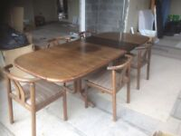 Large Dining Table and 5 No Chairs Antique Retro style Manufactured in Denmark by Mobelfabrik