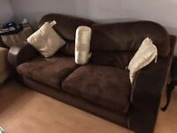 Super soft chocolate suede/leather sofa -FIRST TO SEE WILL BUY!!!