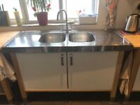 Kitchen units – Free-standing Ikea timber / white / brushed steel units incl double sink