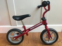 Chico Red Bullet Child's Kid's lightweight balance bike bicycle 3-5 years up to 25 kg - £10