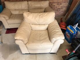 Cream leather 3 seater sofa and matching chair (DFS)