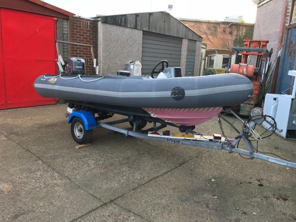 Avon Searider 4m rescue with Mariner 40ML and trailer