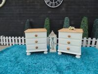 PAIR OF SOLID PINE BEDSIDE CABINETS PAINTED WITH LAURA ASHLEY PALE DOVE AND WAXED FOR PROTECTION