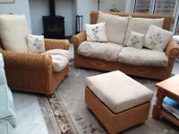 Conservatory Furniture. Three piece. Settee, two armchairs and footstool.