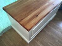 "Large solid pine trunk / blanket box / toy box / coffee table / coffer in Laura Ashley ""Creamware"""