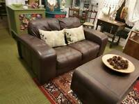 Violino Italian Brown Leather 2 seater sofa (quality suites and sofas)