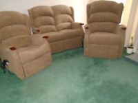 HSL 2 seat sofa and 2 motor rise and recline chairs. 2 years old perfect condition