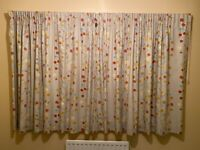 Scion Berry Tree Curtains, lined Neutral/Tangerine/Blue inc curtain track and 2 matching cushions