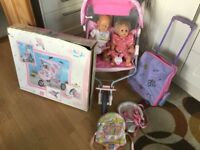 Baby born double buggy Excellent condition and baby born doll, Tiny tears lots of accessories