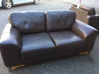 2 x2 seater sofas brown leather