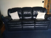 Blue Leather Sofa 3 x 2 x 1 - Great Condition RRP£3000 sell £700 - TAIN COLLECTION