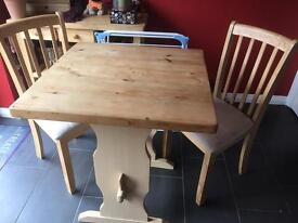 Country style table and 2 chairs