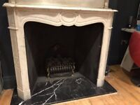 Beautiful, elegant, white/grey, solid marble fire surround, gas fire and black marble hearth