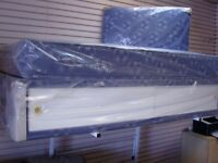 Boys Blue Football Divan Bed Set with Sliding Door Storage, Mattress and Headboard. Brand New
