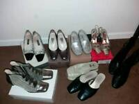 8 pair of Branded used shoes/boots Size 6