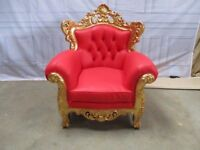 2 x NEW Gold & Red Leaf Gilded Vienna Armchair Luxury Wedding Ornate Carved Furniture King