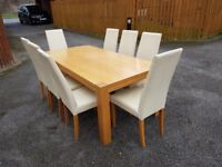 Large 2m Oak Dining Table & 8 Cream Leather Chairs FREE DELIVERY 742