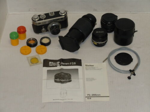 VINTAGE VIVITAR NIKON CAMERA LENS LOT KODAK GLASS FILTERS PERFEX CAMERA EXTRAS