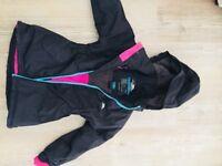 Girls Black Tresspass waterproof coat age 4-5