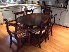Stunning Antique Twin Pedestal Dining Table & 6 Chairs