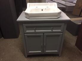 Savoy Gun Metal Grey 790 basin unit - with 2 tap hole basin