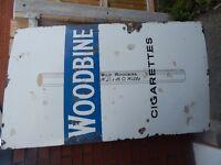 OLD SIGN ENAMEL ADVERTISING Antique VINTAGE 5 FT WOODBINE Cigarette TOBACCO