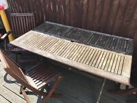 Garden wooden table and 6 chairs