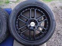 "set of 18"" TSW black alloys fits vw/audi with good tyres all round no cracks buckles quick sale £280"