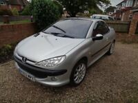 SUMMER FUN. PEUGEOT 206 cc CONVERTIBLE. NEW MOT.