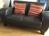 Brown 3 & 2 seater sofas