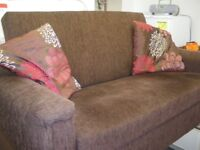 2-MATCHING SMALL BROWN SOFAS