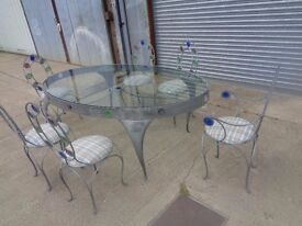 Bespoke Silvered Peter Harvey Oval Metal Glass Dining Table Set with 6 Chairs Galvanised Finish