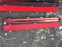 Various pool and snooker cues for sale