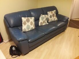 3 Seater leather sofa (Blue) for sale £50 Buyer collects