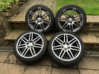 "18"" GENUINE AUDI A3 S LINE BLACK EDITION ALLOYS VERY GOOD TYRES PCD 5X112 VW SKODA SEAT"