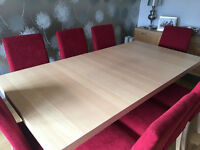 Bo Concept extendable oak veneer dining table and 8 chairs