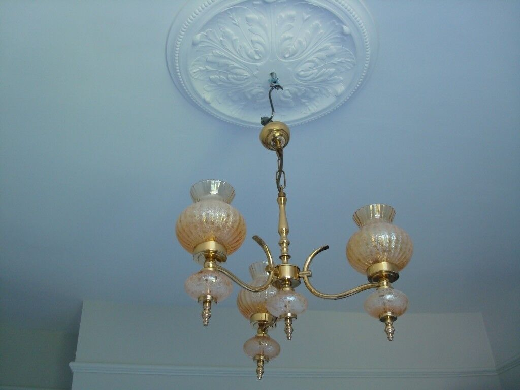 Beautiful Antique Brass Chandelier Victorian Style 3 Arms Amber Tulip Shades