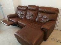 2x brown leather recliners (1x manual, and 1x electric)