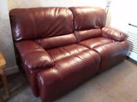 For Sale. 3 Seater Leather Reclining Sofa and Chair. Plus Fabric reclining chair and Footstool..